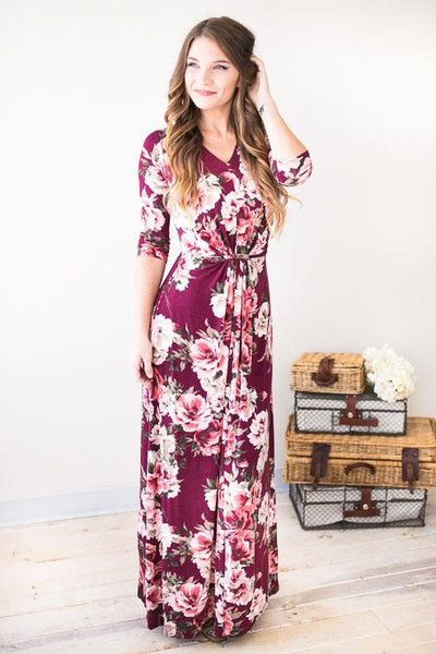 Fall Florals Maxi Dress-Dresses-Lotus Boutique-Lotus Boutique