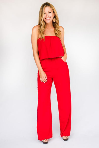 Jumpsuits Haute Hues Lipstick Red Strapless Jumpsuit - Lotus Boutique
