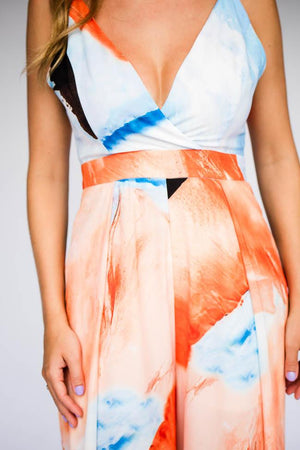 Orange And Blue Watercolor Print Jumpsuit