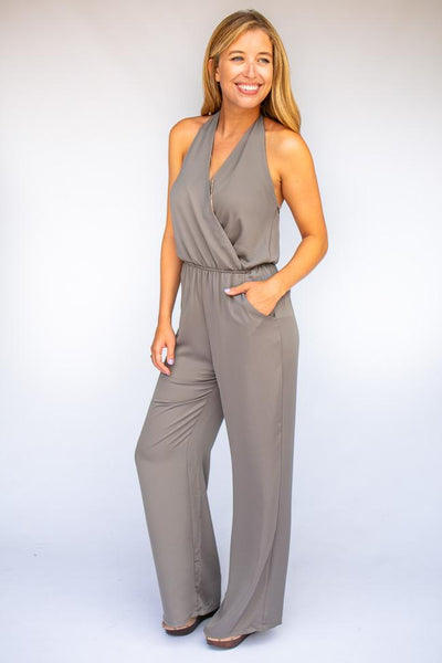 Open Back Halter Jumpsuit