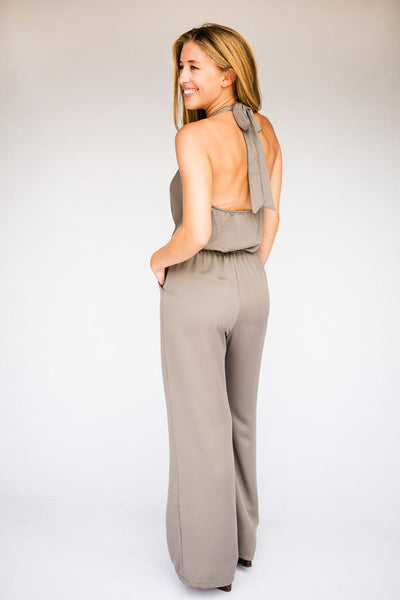Jumpsuits Never Alone Halter Neck Open Back Jumpsuit in Mushroom - Lotus Boutique