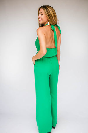 Open Back Halter Neck Emerald Jumpsuit