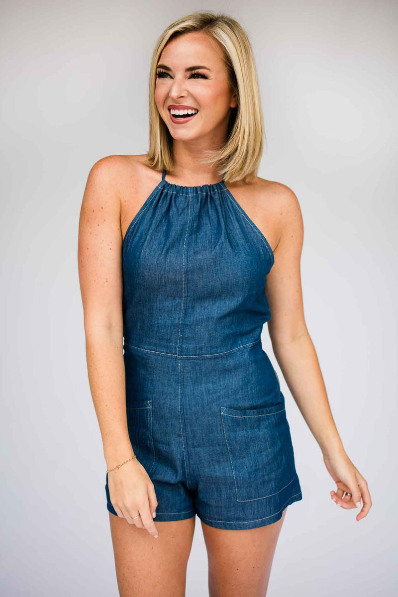 Open Back Chambray Romper
