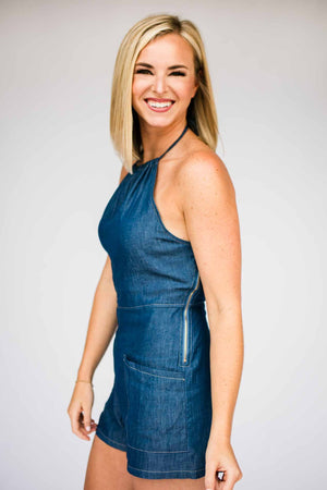Chambray Open Back Romper