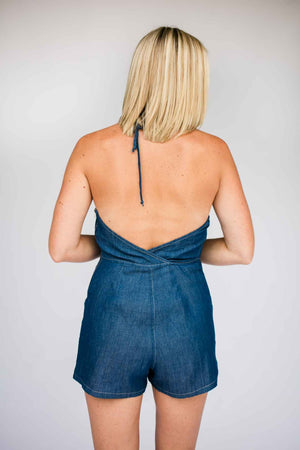 Halter Neck Chambray Open Back Romper
