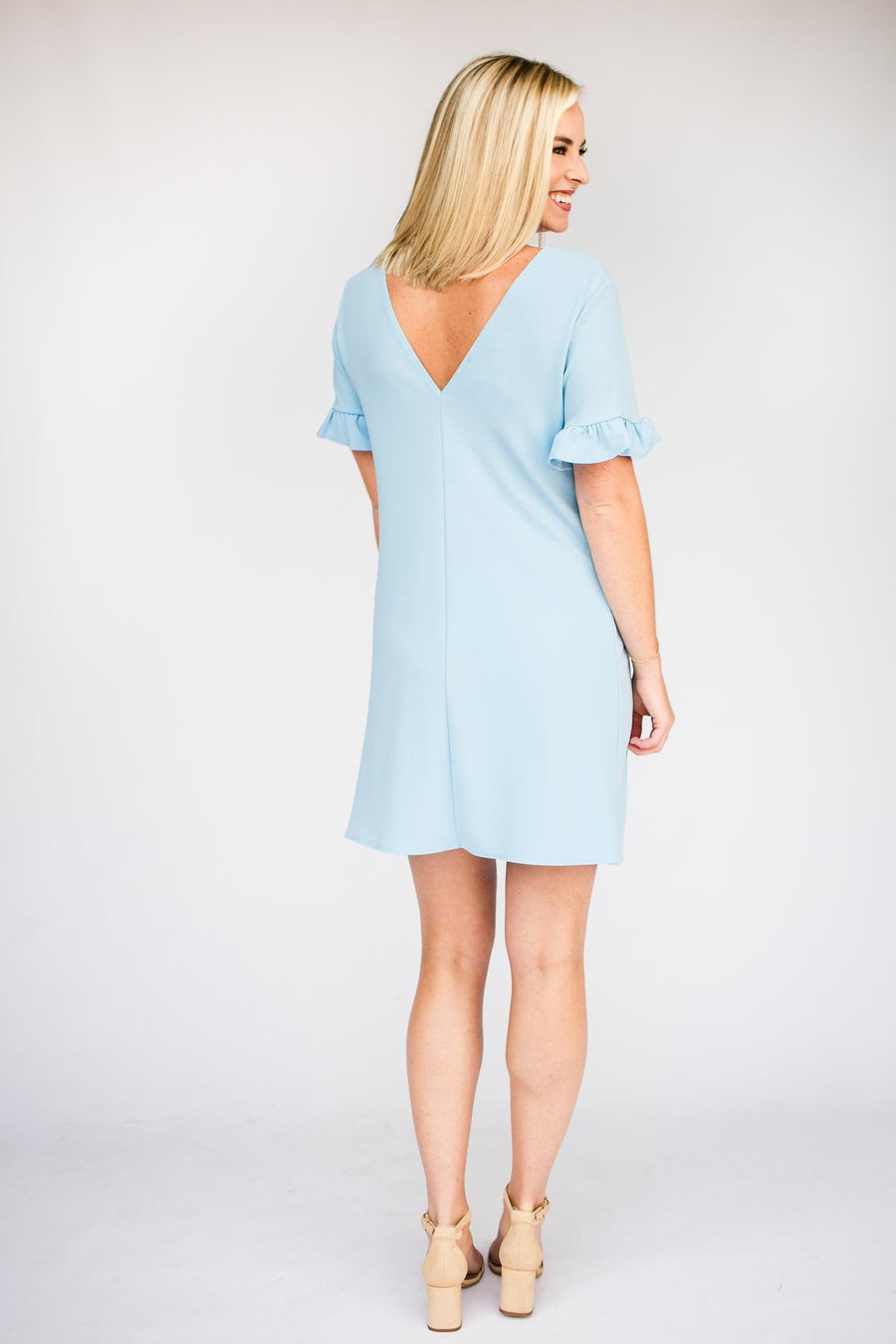 Light Blue Ruffle Sleeve Dress