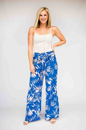 Blue Print Wide Leg Pants