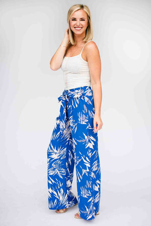 Print Blue Wide Leg Pants