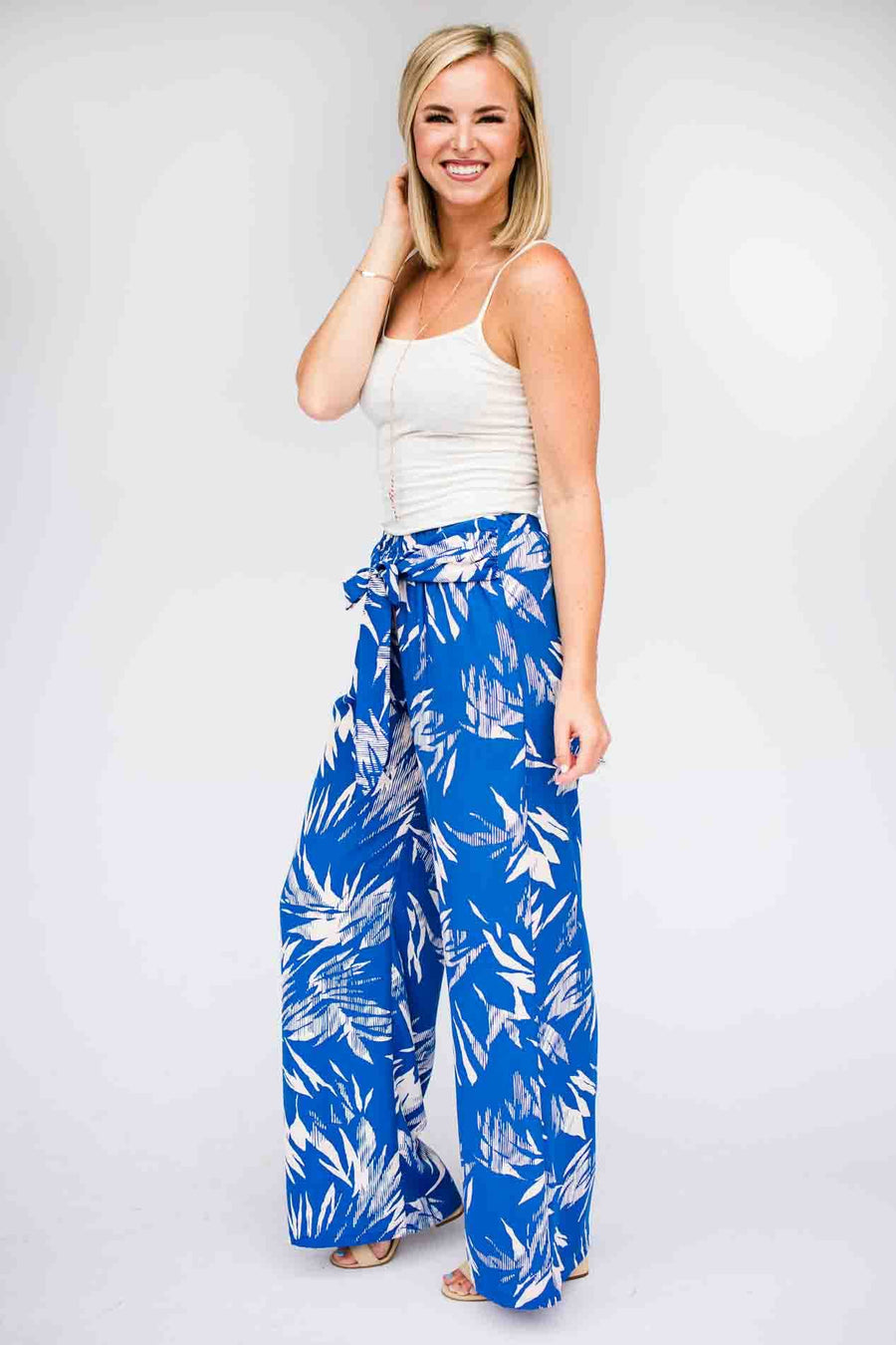 Bottoms Only the Best Benefits Print Pants in Blue  - Lotus Boutique
