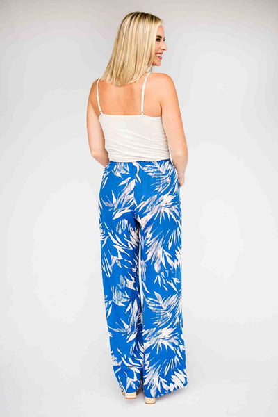 Wide Leg Blue Print Pants