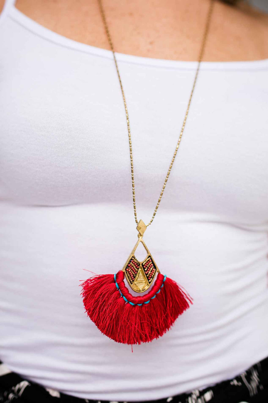 I Need You Red Tassel Necklace