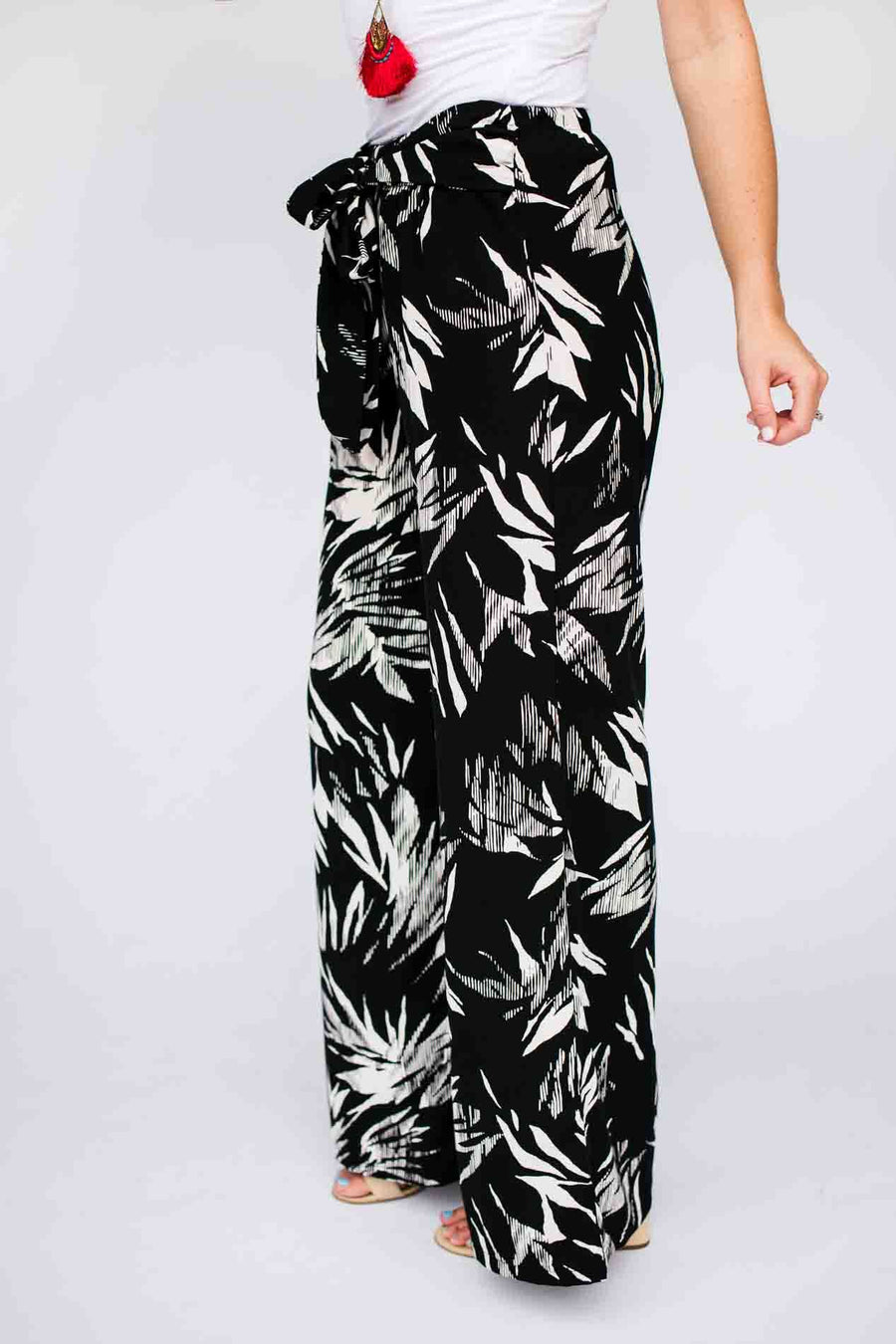 Bow Tie Waist Print Wide Leg Pants