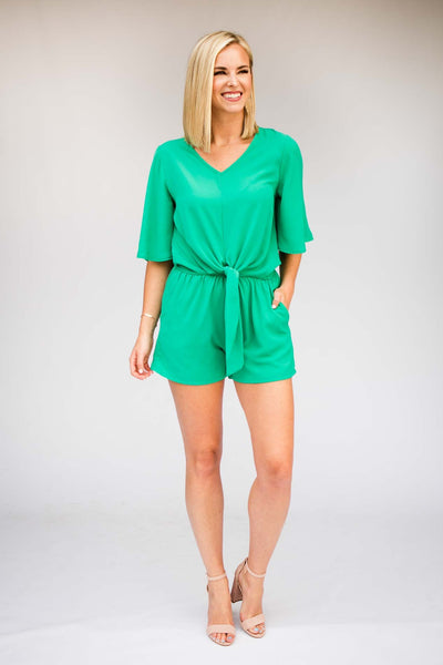 Rompers Simply Irresistible Tie Front Romper in Jade - Lotus Boutique