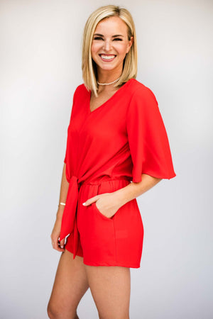 Red Wide Sleeve Tie Front Romper