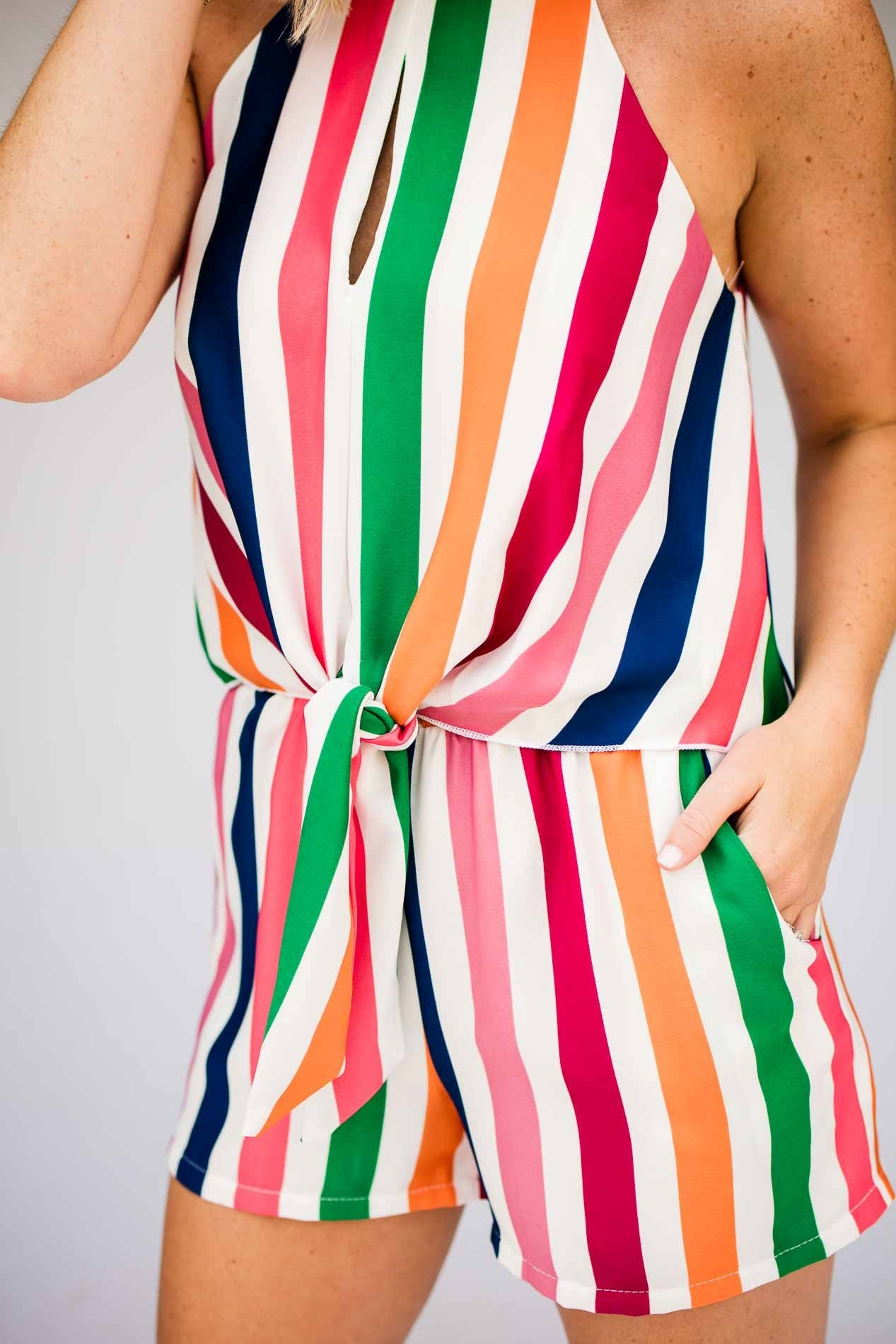 4b0792454af Playsuits Over the Rainbow Stripe Tie Front Romper - Lotus Boutique