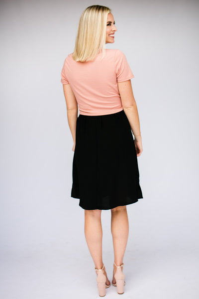 Bottoms See Ya Button Up Black Midi Skirt - Lotus Boutique