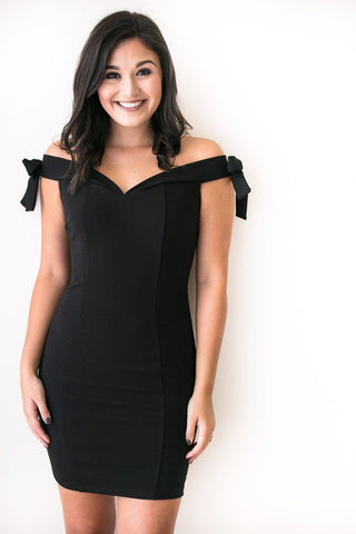 Dreaming about a Black Bow Sleeve Bodycon Dress