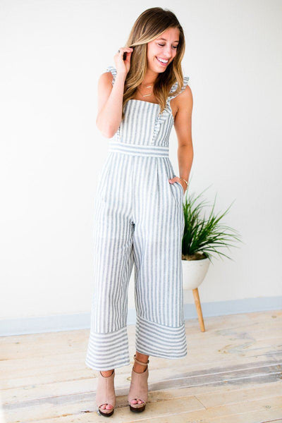 Playsuits Ground Breaking Stripe Linen Jumpsuit - Lotus Boutique