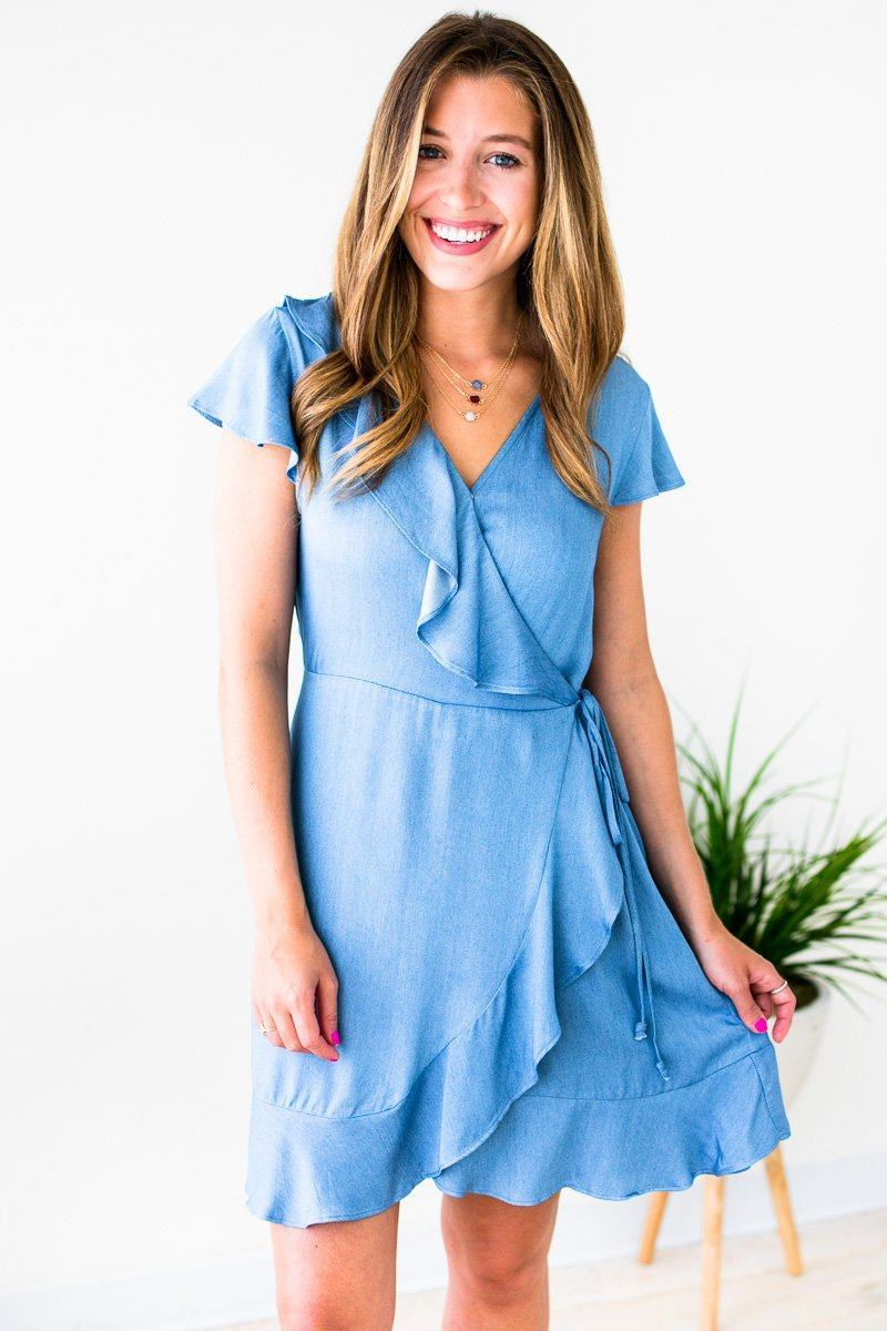 Dresses Absolutely Ready Wrap Ruffle Chambray Dress - Lotus Boutique