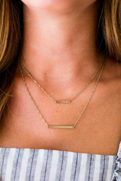 Accessories Lafayette Bar Gold Layered Necklace - Lotus Boutique