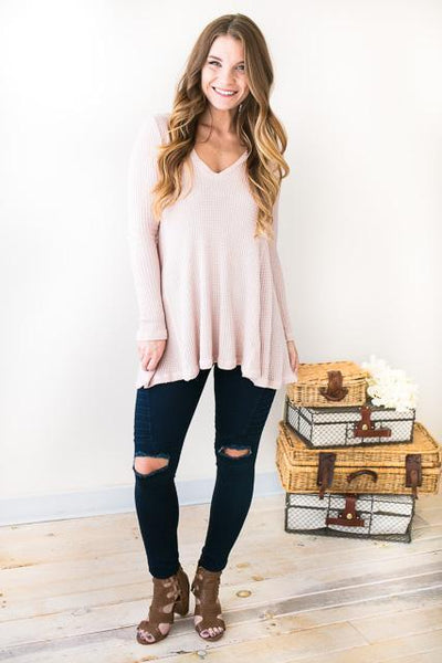 Tops Super Chic Blush V-Neck Waffle Knit Tunic - Lotus Boutique