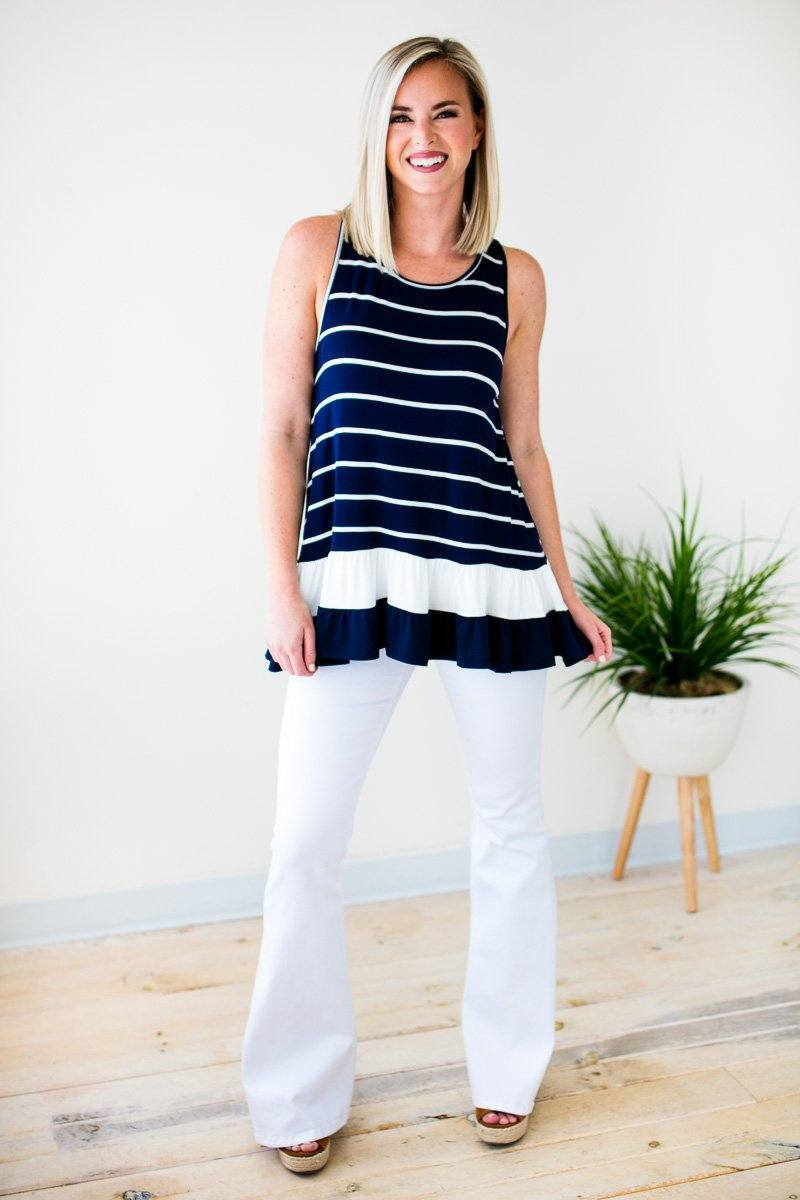 Navy Stripe Tunic Tank