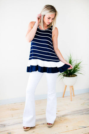 White And Navy Stripe Tunic