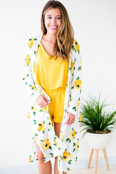 Tops Botanical Affair Floral Long Cardigan - Lotus Boutique