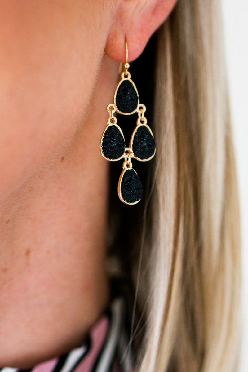 Layered Druzy Black Earrings