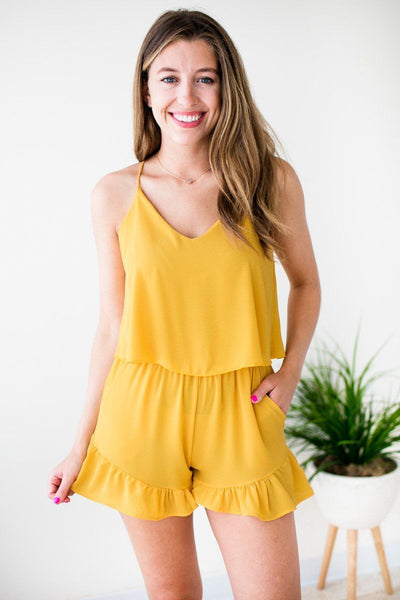 Rompers Charleston Streets Ruffle Bottom Marigold Romper - Lotus Boutique
