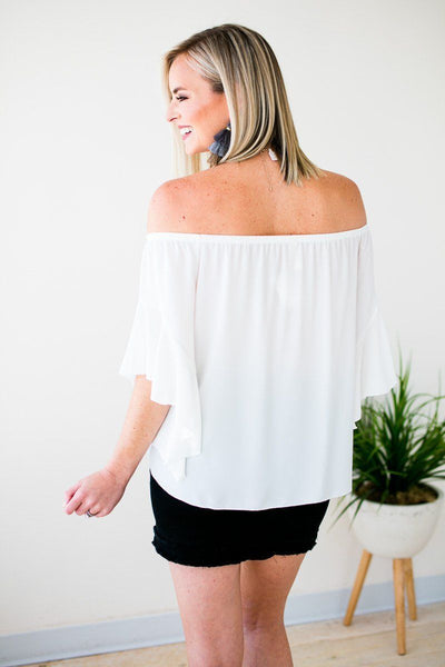 Tops Living for Tonight Flutter Sleeve Top in White - Lotus Boutique