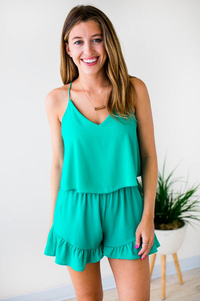 Jade Ruffle Bottom Romper