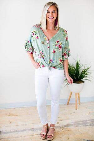 Tie Front Floral Button Ruffle Sleeve Top