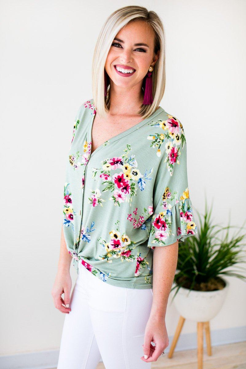 Tie Front Floral Button Top