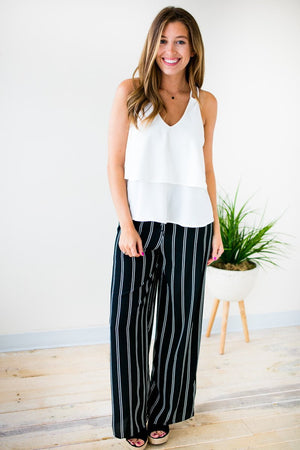 Black Stripe Wide Leg Pants
