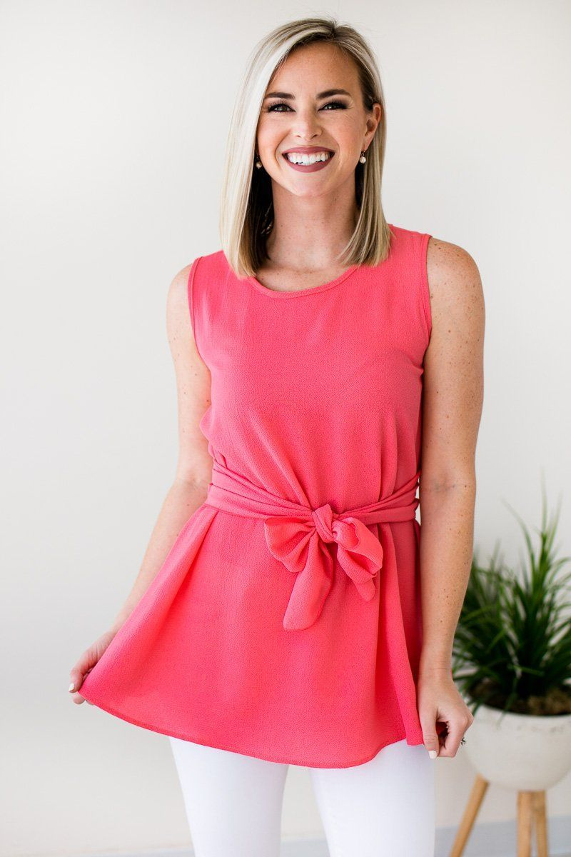 Tops She's Got It All Sleeveless Tie Front Tank - Coral - Lotus Boutique