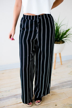 Stripe Elastic Waist Wide Leg Pants