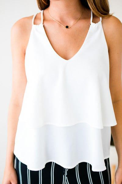 Tops St. Louis Views Double Strap Ivory Tank - Lotus Boutique