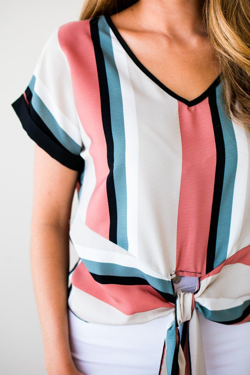 Stripe Tie Front Cuff Sleeve Top