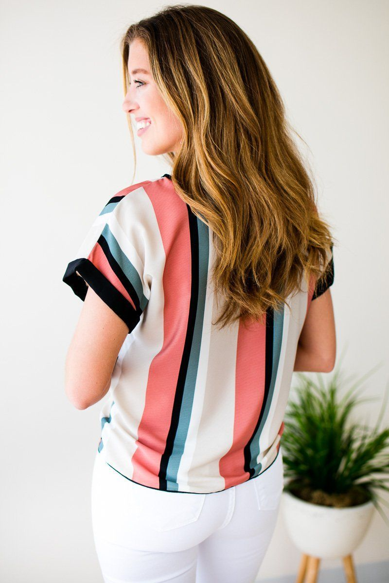 Tie Front Cuff Sleeve Stripe Top