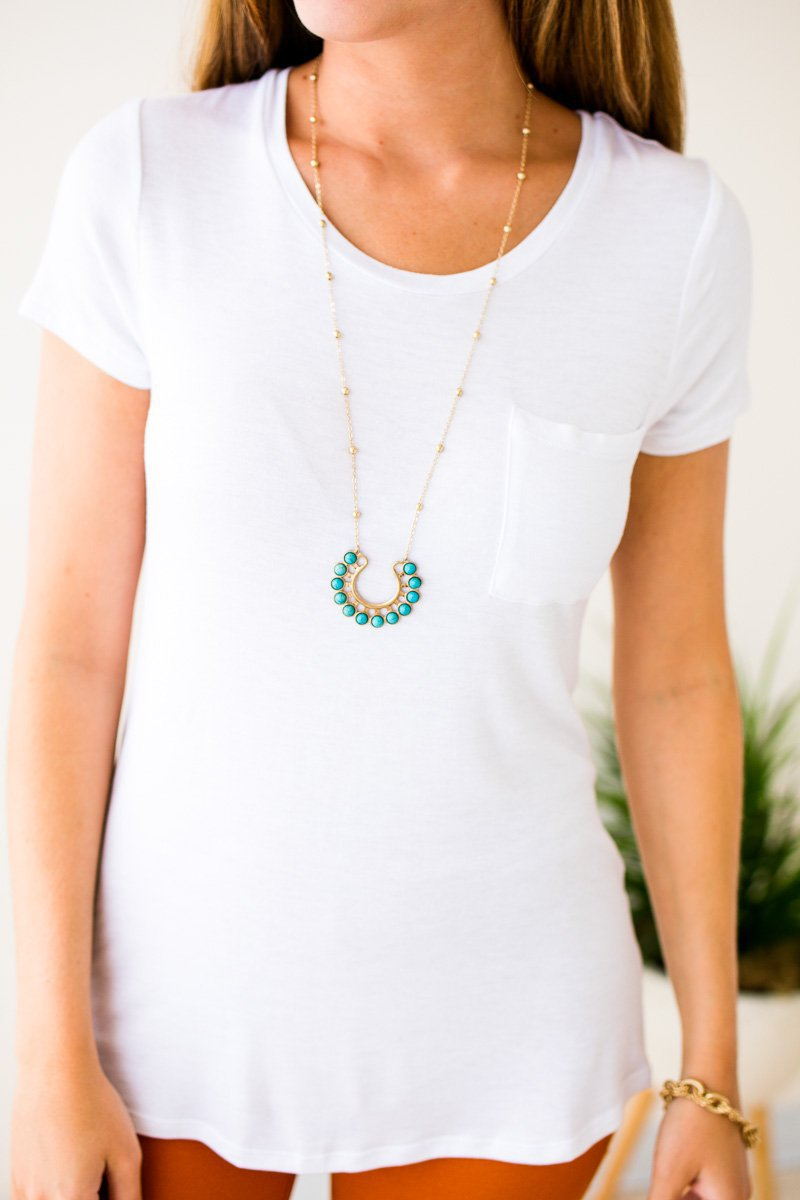 White Scoop Neck Pocket Tee