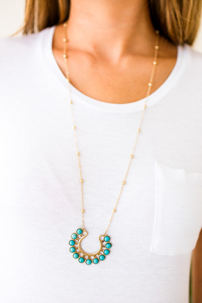 Accessories Cleopatra Turquoise Stone Gold Necklace - Lotus Boutique