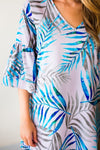 Bell Sleeve Blue Palm Print Dress