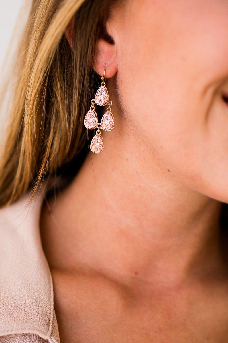Understated Layered Druzy Dangle Earrings
