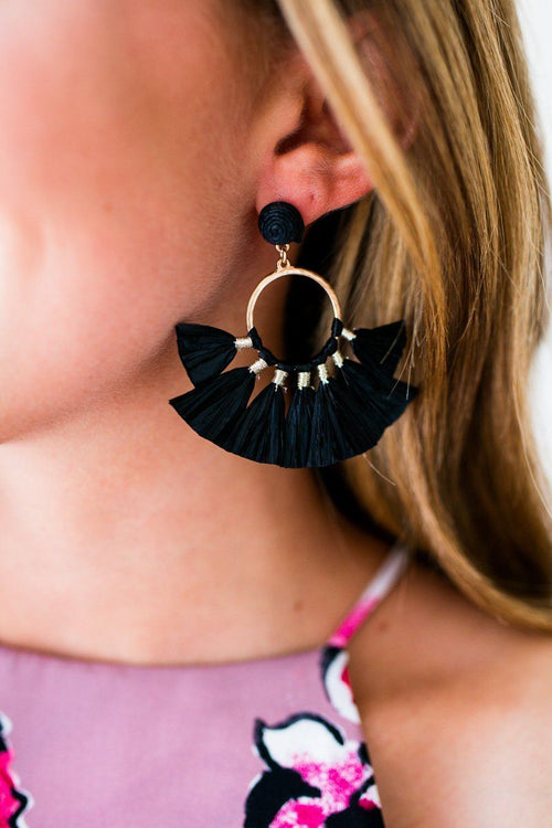 Enjoy the Moment Black Raffia Tassel Earrings