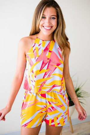 Summer Palm Print Romper