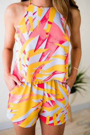 Palm Print Summer Romper