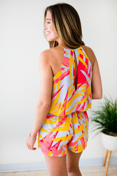 Rompers Follow Where She Goes Yellow Retro Palm Romper - Lotus Boutique