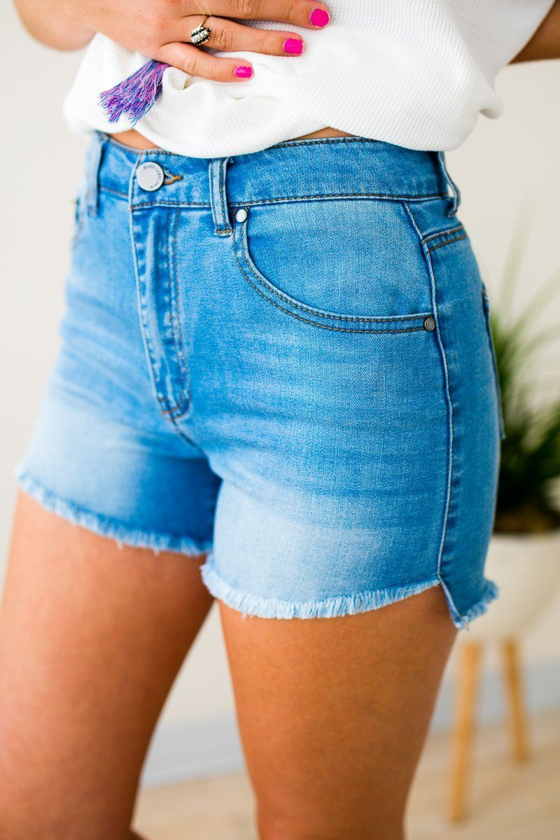 Bottoms Modern Romance High Waist Denim Shorts - Lotus Boutique