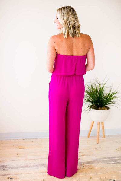 Jumpsuits Haute Hues Fuchsia Strapless Jumpsuit - Lotus Boutique